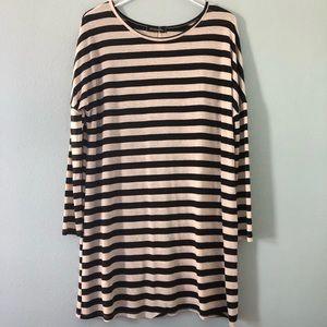 Boutique | Black and ivory stripe mini dress